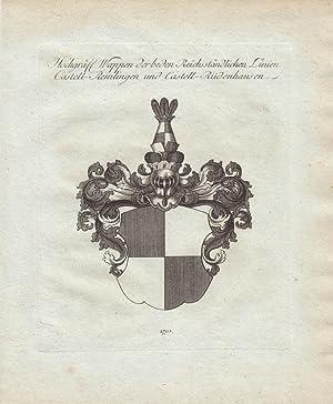 CASTELL: Hochgräfl. Wappen der beiden Reichsständlichen Linien Castell-Remlingen und ...