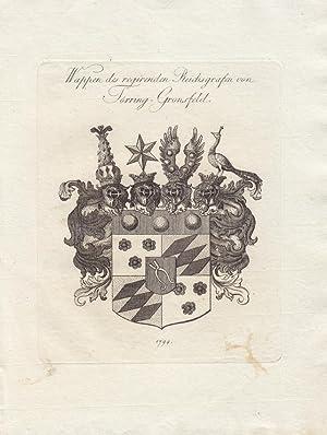 TÖRRING: Wappen des regierenden Reichsgrafen von Törring-Gronsfeld (1794). Kupferstiche ...