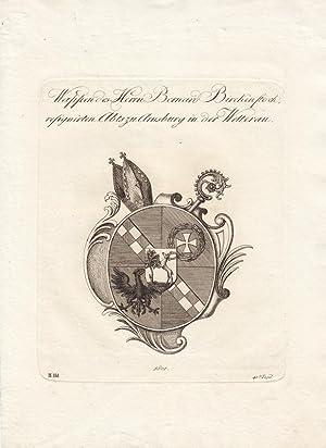 ARNSBURG (Wetterau): Wappen des Herrn Bernard Birckenstock resignierten Abts. (1802). Kupferstiche ...