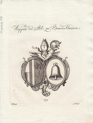BENEDIKTBEUERN: Wappen des Abts (1799). Kupferstiche bei Tyroff, Nürnberg. Ca. 1790-1810. ...