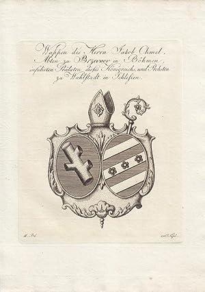 BREVNOV UND WAHLSTADT: Wappen des Herrn Jakob Chmel, Abt. (um 1810). Kupferstiche bei Tyroff, N&...
