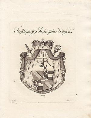 Wappen des Fürstbischofs. (1801). Kupferstiche bei Tyroff, Nürnberg. Ca. 1790-1810. Meist...