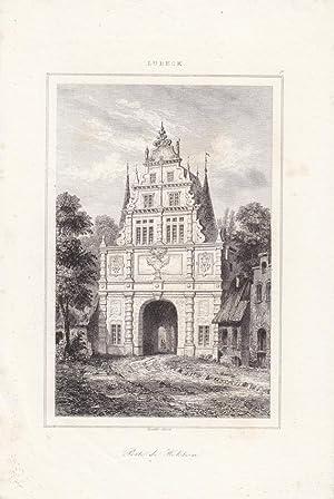 Lübeck, Holstentor, Porte de Holstein, schöner Stahlstich um 1840 von Lemaitre, Blattgr&...