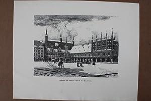 Marktplatz und Rathhaus in Lübeck, Holzstich um 1880 von A. Class nach Hans Bartels, Blattgr&...