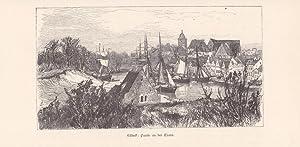 Lübeck Partie an der Trave, Holzstich um 1865 mit Blick auf Stadt und Wasserfläche, ...