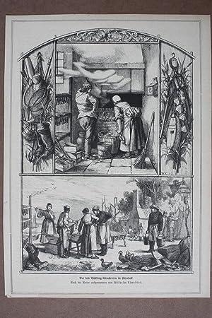 Bei den Bückling-Räucherern in Ellerbeck, Holzstich um 1878 nach Wilhelm Claudius mit ...