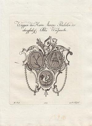 Wappen des Herrn Maurus Prälaten der oberpfälz. Abtei Weissenhohe. (1803). Kupferstiche ...