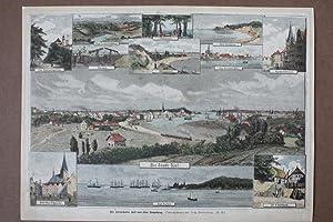 Der Kriegshafen Kiel und seine Umgebung, altkolorierter Holzstich um 1865 als Sammelblatt mit 12 ...