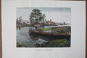 Am Ratzebuger See, altkolorierter Holzstich um 1880 von Gustav Schönleber, Blattgrö&szlig...