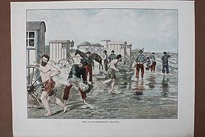 Scene vom Herrenbadestrande in Norderney, Ostfriesland, altkolorierter Holzstich um 1890, Blattgr&...