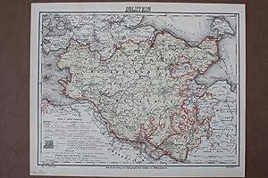 Herzogthum Holstein, altkolorierter Stahlstich um 1860 aus dem bibligraphischen Institut ...