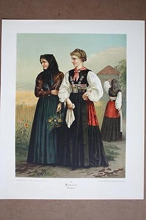 Holstein Probstei, Trachten, Kostüme, Chromolithographie um 1870 aus dem Institut von Gustav ...