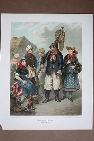 Schleswig-Holstein An den Küsten, Trachten, Kostüme, Chromolithographie um 1870 aus dem ...