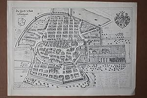 Stuttgart, Die Fürst. Statt Stuetgart im 16. Jahrh., Stahlstich um 1810 nach älterem ...