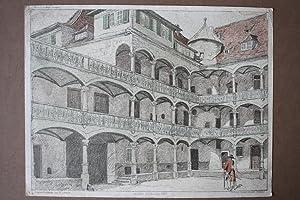 Stuttgart, Altes Schloss, Hof, Soldat, schöne Farblithographie um 1900 nach einer Original ...