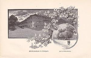 Militärakademi in Stuttgart, Holzstich um 1890, Blattgröße: 12 x 18,7 cm, reine ...