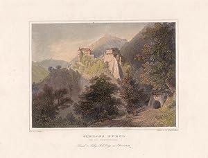 Schloss Tyrol und das Knappenloch, altkolorierter Stahlstich