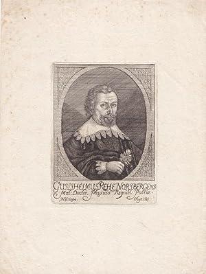 Rehe, Wilhelm (1592 Nürnberg - 1631. Arzt). Porträt. Brustbild nach rechts, in der Hand ...