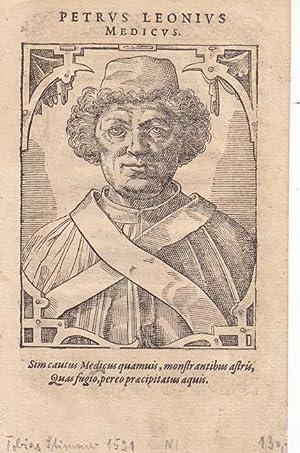 Leoni, Pietro (gest. 1444. Arzt und Astrologe in Italien). Porträt. Brustbild. Holzschnitt von...