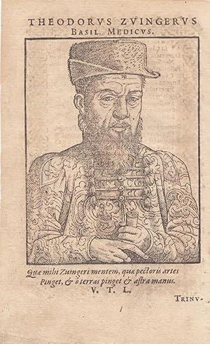 Zwinger, Theodor (1533 Basel - 1588. Arzt, Chemiker, Theologe. Professor in Basel). Porträt. H...