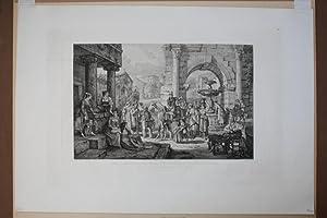 """Zahnarzt - """" Der Zahnbrecher in einem roemischen Staedtchen """". Radierung von Ludwig ..."""