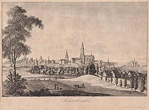 Schweidnitz / Mittelschlesien - Gesamtansicht. Kupferstich wohl von und bei C. F. Stuckart um ...