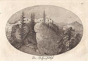 Bolzenschloß ( Kreis Schönau / Niederschlesien ) - Ansicht der Ruine im Quer-Oval. ...