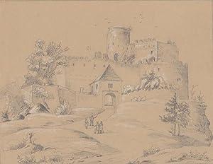 Kynast ( Kreis Hirschberg / Riesengebirge ) - Gesamtansicht der Burg vom Weg zum Eingang, ...