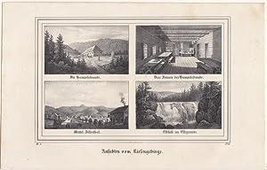 """Riesengebirge - """" Ansichten vom Riesengebirge """". Sammelbild mit 4 Darstellungen. Anonyme ..."""