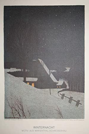 "Schreiberhau ( Kreis Hirschberg / Riesengebirge ) - ""Winternacht. Motiv aus ..."