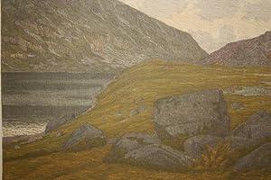 """Kleiner Teich / Riesengebirge - """"Der kleine Teich"""". In Farben gedruckte Lithographie..."""