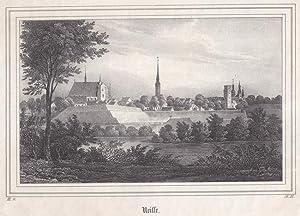 Neisse / Oberschlesien - Gesamtansicht. Anonyme Lithographie um 1840. Reine Bildgrö&szlig...