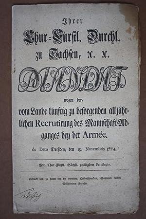 Ihrer Chur-Fürstl. Durchl. zu Sachsen etc. etc. Mandat, wegen der, vom Lande künftig zu ...