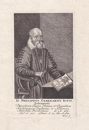 Camerarius, Philipp (1537 Tübingen - 1624 Nürnberg. Jurist in Nürnberg. Prokanzler ...