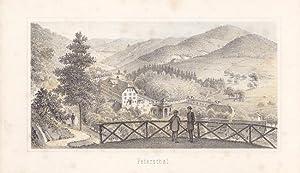 """Peterstal, Kreis Offenburg / Baden - """" Petersthal """". Blick auf den Ort aus halber H&..."""