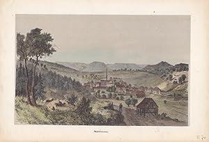 Maulbronn / Württemberg. Gesamtansicht mit umgebender Landschaft von Osten, vorn ...