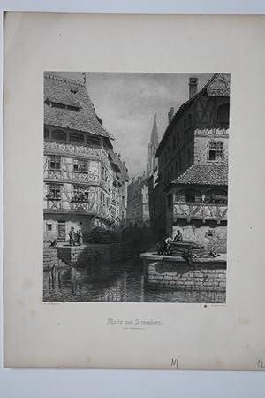 """Straßburg - """" Motiv aus Strassburg ( Der Gerbergraben ) """". Malerische Ansicht der ..."""