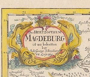 """Das Herzogthum Magdeburg """" . Alt grenz- und flächenkolorierte Kupferstich-Karte mit ..."""