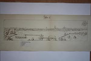 Jessen. Gesamtansicht mit Legende a-g. Getönte Federlithographie um 1900 nach Handzeichnung ...