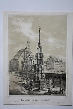 """Nürnberg - """" Der schöne Brunnen in Nürnberg """". Ansicht mit Hauptmarkt und ..."""