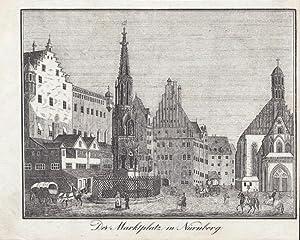 """Nürnberg - """" Der Marktplatz in Nürnberg """". Ansicht mit schönem Brunnen, ..."""