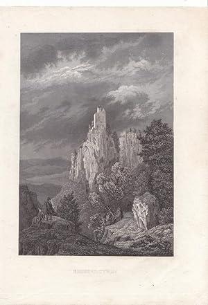 Reussenstein ( Oberamt Geislingen ) / Württemberg. Romantische Ansicht der Burgruine in ...