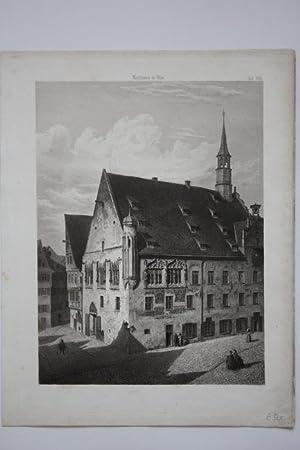"""Ulm - """" Rathaus in Ulm """". Detailgetreue Ansicht aus halber Höhe (wohl aus dem ..."""