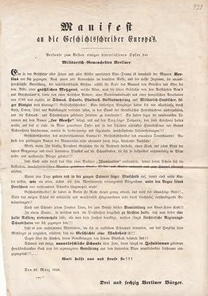 Flugblatt : Manifest an die Geschichtsschreiber Europas. Verkauft zum Besten einiger hinterlassenen...