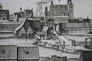 Staßfurt Kupferstich von Merian, um 1650. 14 x 38 cm.: Staßfurt: