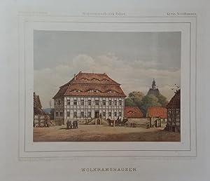 WOLKRAMSHAUSEN bei Nordhausen. Ansicht des Gutsherrenhaus, im Hintergrund die Kirche, vor der ...
