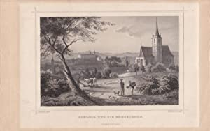"""SCHLEIZ und die Bergkirche """". Gesamtansicht vom Standpunkt vor der Kirche mit Personenstaffage..."""