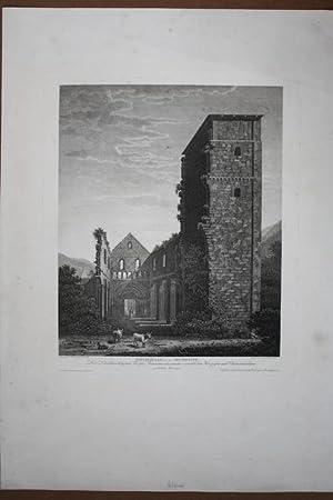 """PAULINZELLA von der Abendseite """". Ansicht der Klosterruine mit jungem Mädchen, 2 Kü..."""