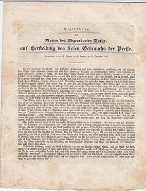 Begründung der Motion des Abgeordneten Mathy, auf Herstellung des freien Gebrauchs der Presse....