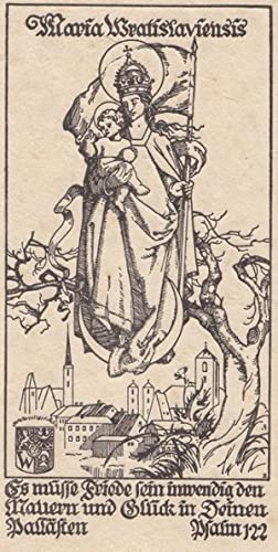 """BRESLAU - """"Maria Wratislaviensis"""" (Breslauer Madonna auf Mondsichel mit Banner schwebend ..."""